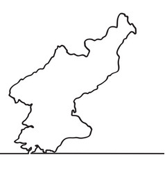 map of north korea continous line vector image vector image