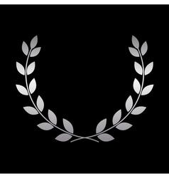 Silver laurel wreath icon 2 vector