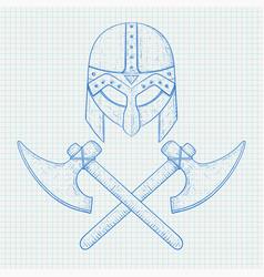 viking helmet and crossed axes hand drawn sketch vector image