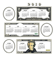 2019 money calendar ideal for any business vector image
