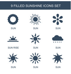 9 sunshine icons vector