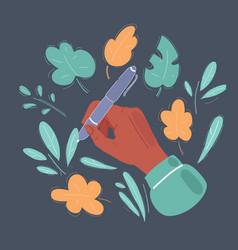 a hand drawn a pencil floral vector image