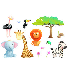 African zoo or safari animals for children clipart vector