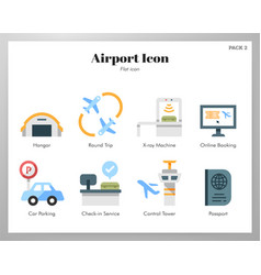Airport icons flat pack vector