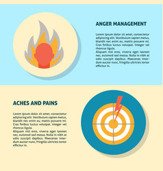 Anger and aches concept banner templates in flat vector