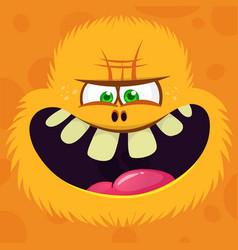 Angry cartoon hairy yeti or bigfoot face avatar vector