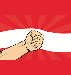 austria fight protest symbol with strong hand and vector image