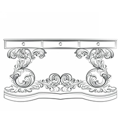 Baroque classic table furniture vector