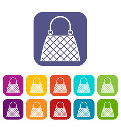 Beautiful bag icons set flat vector