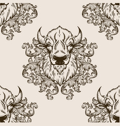 Bison head seamless pattern vector