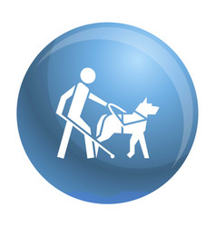 Blind boy dog guide icon simple style vector