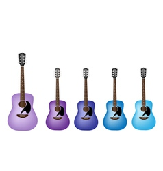 Blue and Purple Colors of Acoustic Guitars vector image