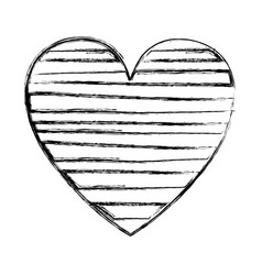 Blurred silhouette heart with horizontal lines vector
