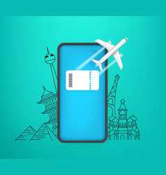 Booking e-ticket on smartphone concept modern vector