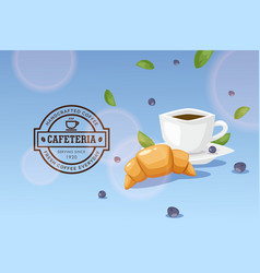 Breakfast in cafe cup coffee and french vector