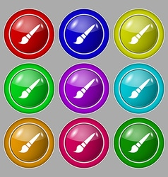 brush icon sign symbol on nine round colourful vector image vector image