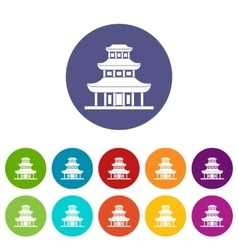 Buddhist temple set icons vector