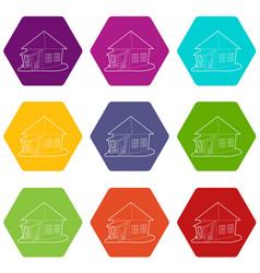 bungalow icons set 9 vector image