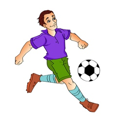 cartoon boy - footballer kick vector image