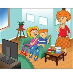 Cartoon family watching tv vector