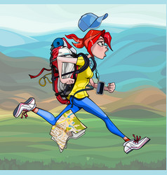 cartoon woman tourist with backpack runs fast vector image