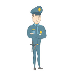 Caucasian policeman standing with folded arms vector
