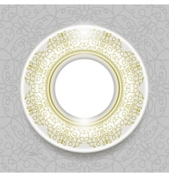 Ceramic Ornamental Plate Isolated on Grey vector