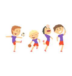 Children doing sport activities vector