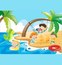 Children enjoy playing on the beach vector