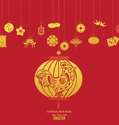 Chinese new year with lantern Year of Rooster vector