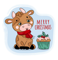 Christmas bull and cake on blue background vector