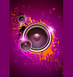 Club disco flyer dancing template with subwoofer vector