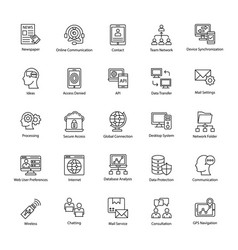 Collection of network and communication icons vector