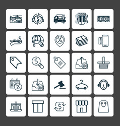 Commerce icons set collection of buck price vector