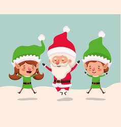 couple helpers with santa claus in snowscape vector image