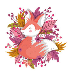 cute fox foliage leaves berries autumn on white vector image