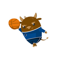Cute funny little bull student playing basketball vector