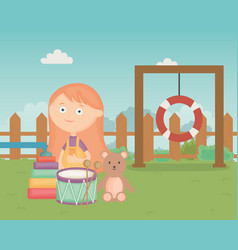 Cute girl with drum bear pyramid in park kids vector