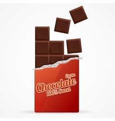 Dark Chocolate Bar Open vector image