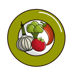 Delicious organic vegetables inside of plate vector