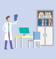Doctor examining x-ray picture in consulting room vector