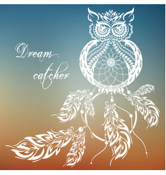 Dream catcher owl sunset background vector