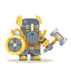 dwarf warrior defender fantasy rpg game layerd vector image