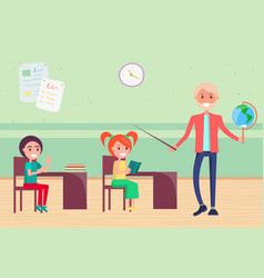 elementary school for kids learning geography vector image