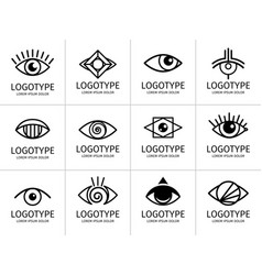eye logo black set vector image