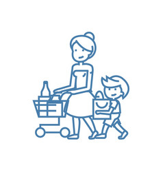 family shopping linear icon concept family vector image
