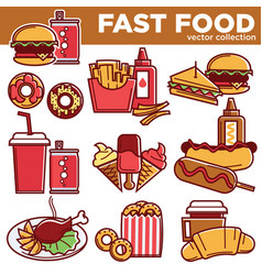 Fast food menu meals burgers sandwiches desserts vector