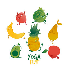 flat fruits practicing yoga stretching set vector image