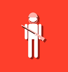 Flat icon design collection soldier with gun in vector