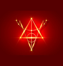 Golden sigil protection magical amulet sign vector